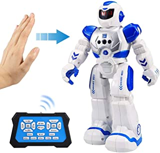 Flyglobal Programmable RC Robots for Kids, Smart Remote Control Robot Toys for Boys Girl, Infrared Controller Singing Dancing Gesture Sensing Robot Toys for Boys Age 4 5 6 7 8 10 12 Old Xmas Gift Blue