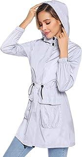 Akalnny Mujer Chaqueta Impermeables con Capucha Cuello Alto Chubasqueros Ultraligera de Manga Larga con Cremallera