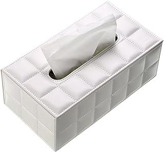 BTSKY Caja de Cuero para Toallas de Papel Estuche Elegante para Pañuelos de Papel con Forma de Rectángulo para Oficina Hogar Cuarto de Baño Blanca