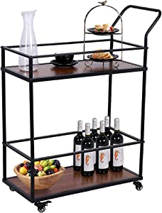 Ejoyous Kitchen Serving Cart, Mobile Bar Cart Utility Trolley Industrial Wood Metal Wine Rack Cart on Wheels with 2 Tier Storage Shelf and Handle for The Home Dining Room, Vintage Brown