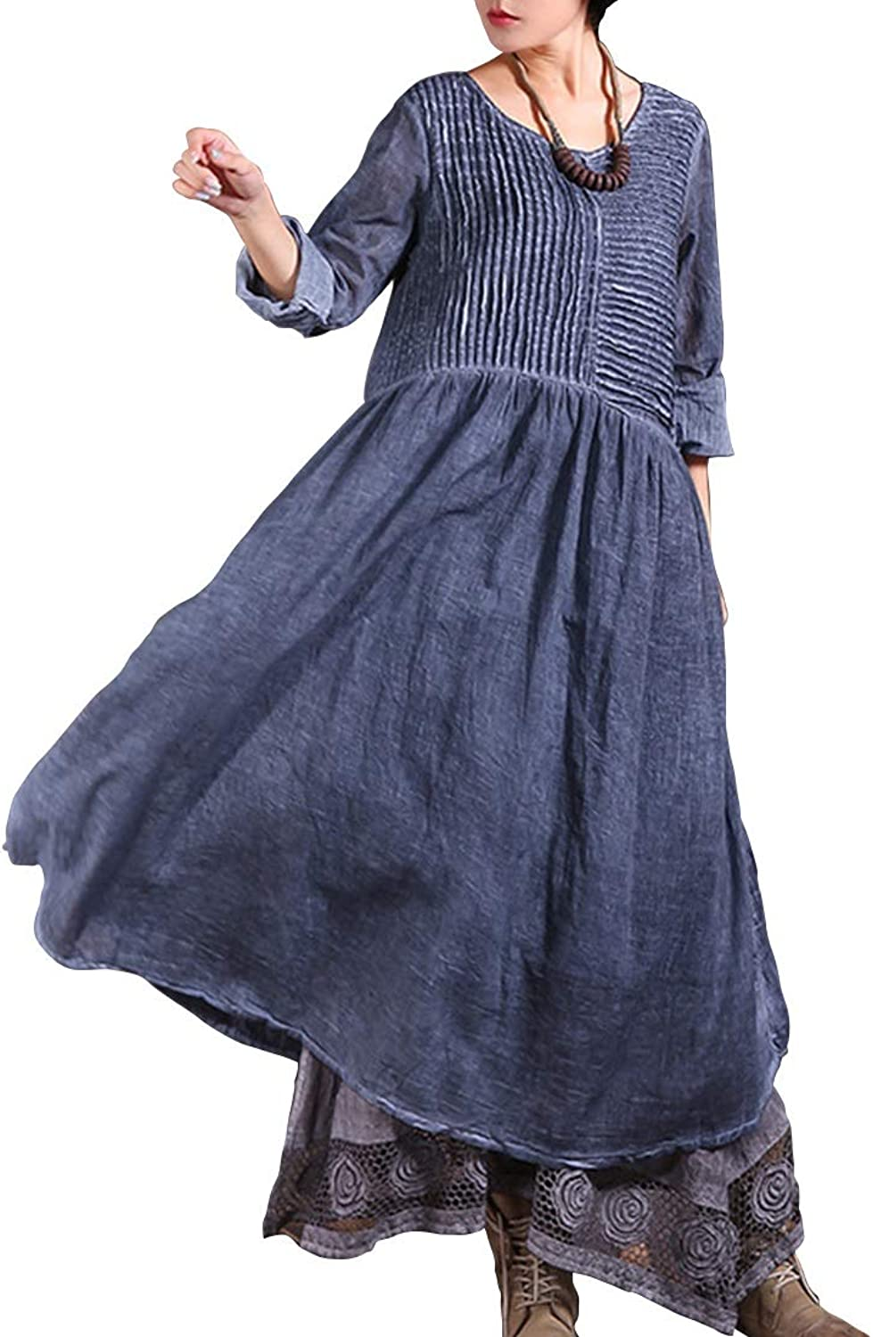 CEFULTY Women's Vintage Long Sleeve Solid color Round Neck Pleated Midi Dress with Pockets (color   bluee, Size   One Size)