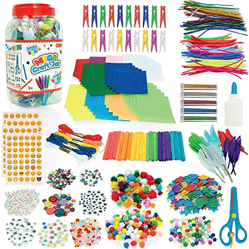 Milly & Ted Mega Craft Jar - Arts and Crafts Kit For Kids - Over 1,500 Pieces - Craft Supplies For Children Aged 3 Years +