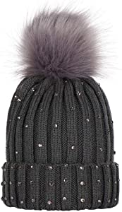 Tanwpn Baby Winter Warm Knit Hat Infant Toddler Kid Crochet Hairball Beanie Cap (Free Size,Deep Gray)