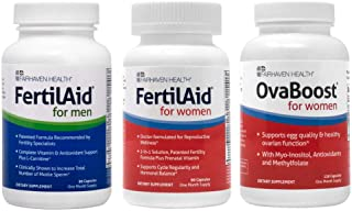 Fertilaid for Men, Fertilaid for Women and Ovaboost Combo - 1 Month Supply - Fertility Pills for Men and Women - Improve Y...