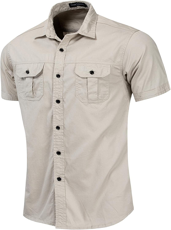 Zainafacai Men's Regular-Fit Short-Sleeve Solid Linen Cotton Shirt Casual Button Down Shirt Business Chambray Dress Shirt