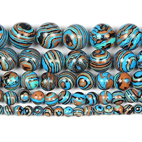 Perlas de piedra natural para la fabricación de joyas Lapislazuli Amatista Folletos Accesorios de pulsera redonda Hecho a mano 4-12mm-malaquita_4mm alrededor de 92pcs