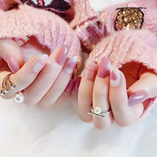 Sethexy Glossy False Nails Heart Cross Nude Pink&White Full Cover Art Design Acrylic 24Pcs Fake nails for Women and Girls