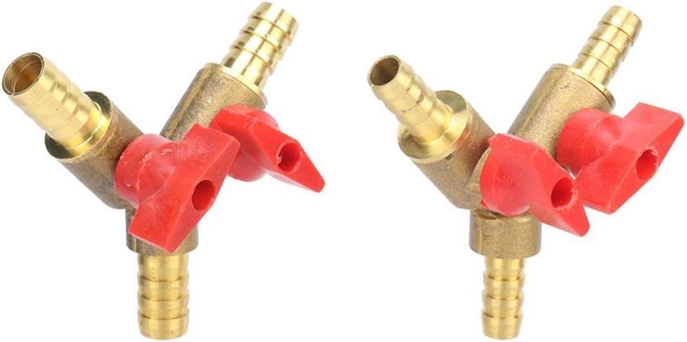 xingyu Duradero 8 mm 10 mm for Manguera de latón en Forma de Y Shut Off Tres vías Válvula de Bola de Instalación de tuberías Adaptador de Conector de combustibles gaseosos, Agua Aceite Aire