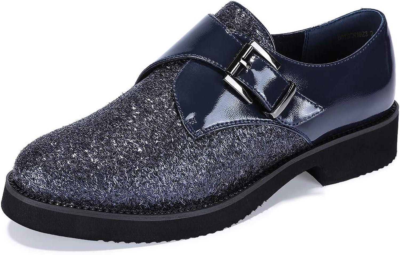 IDIFU Woherrar Woherrar Woherrar Betty -C Mode Buckle Strap Oxfords skor Round Toe Low Heel skor blå 5.5 M USA  online till bästa pris