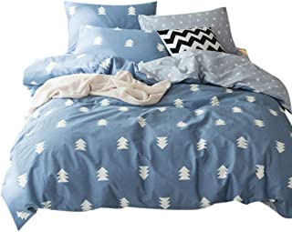 FenDie Home Bedding Collections Queen 3 Piece Blue Cover Set,  Pine Tree Printed Forest Quilt/Comforter Cover with 2 Pillowcases,  100% Cotton