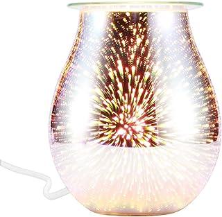 Vvciic Lámpara de aromaterapia eléctrica, calentador de fusión, luz de aroma de quemador, lámpara de aroma para fundición de cera, diseño de difusor de vidrio 3D, luz de noche para fundición