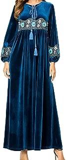 Abetteric Women's Muslim Velvet Islamic Embroidered High Waisted Kaftan Abaya