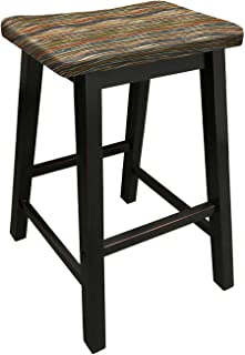 The Furniture Cove Black Wood Bar Stool Saddle-Seat Style in 24