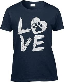 Womens/Ladies T-Shirt Love Paw Print in Heart