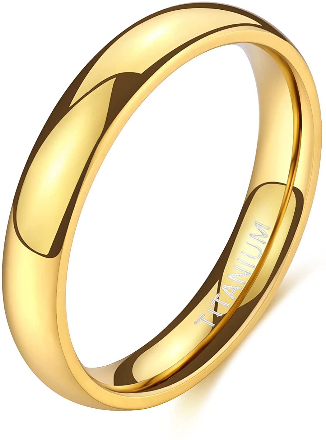 TIGRADE 2mm 4mm 6mm Gold Titanium Ring Plain Dome High Polished Wedding Band Comfort Fit Size 3-13.5