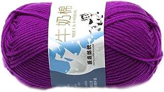 Suave Suave Leche de algodón natural de la mano de tejer lana de lana bola del hilado del bebé Craft-púrpura oscuro