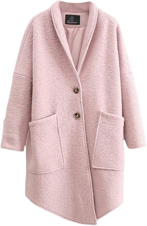WofupowgaCA Women Wool Blend Autumn Winter SingleBreasted Outwear Irregular Pea Coat