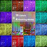 LED Curtain String Lights, Ollny 16 Colors Changing 240 LED Fairy...