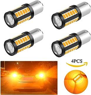 4PCS 1156(BAU15S)5730 33SMD 12-30V 3.6W Super Bright Car LED Bulbs Front and Rear Turn Signals(Amber)