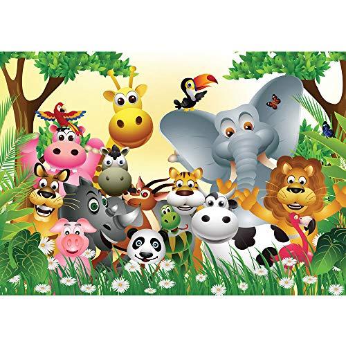 Fototapete 300x210 cm - ALLE TOPSELLER auf einen Blick ! Vlies PREMIUM PLUS - JUNGLE ANIMALS PARTY - Kinderzimmer Dschungel Zoo Tiere Giraffe Löwe Affe - no. 013