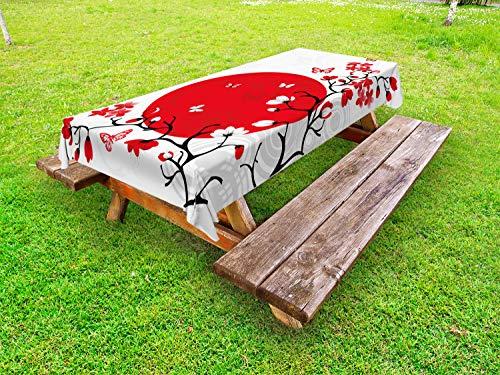 ABAKUHAUS Japonais Nappe Extérieure, Cerise Sakura Arbres, Nappe de Table de Pique-Nique Lavable et Décorative, 145 cm x 210 cm, Vermilion Noir Blanc