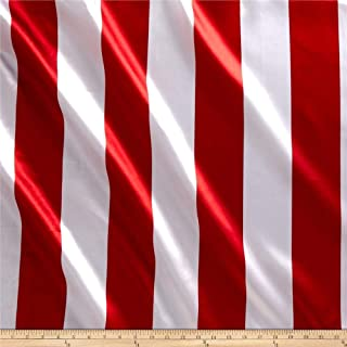 Ben Textiles 0342339 Charmeuse Satin 3.5 Stripe White/Red Fabric by the Yard