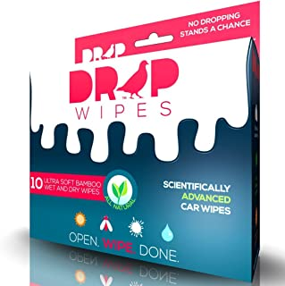 Bird Poop Remover - Drop Wipes - Exterior Car Wipes/Auto Spot Cleaner - Scientifically Advanced, Patent Pending & All-Natural for Bird Droppings, Water Spots & More - 1 Box (10 Wet & 10 Dry Wipes)