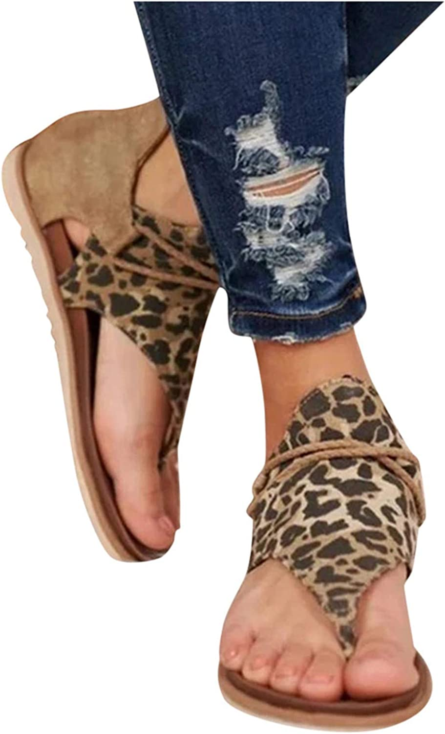 Mallocat Sandals for Women Wedge New arrival Flat 2021 Leopard Prin Year-end gift Fashion