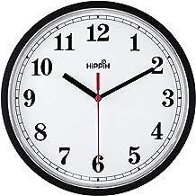ساعت دیواری تزئینی Yoobure 10 Quartz Silent Clot بدون باتری کلاسیک ساعت دیجیتال کلاسیک دور قابل اجرا آسان برای خواندن صفحه اصلی / دفتر / مدرسه (ساعت سیاه)
