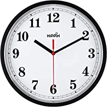 Yoobure Black Wall Clock, Silent Non-Ticking Quality Quartz Battery Operated Wall Clock - 10 Inch Round Easy to Read Decorative for Home Office School
