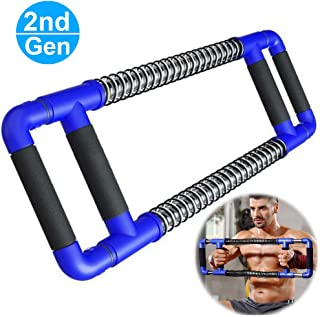 Mucool 2nd Gen Adjustable Pressure Super Push Down Bar Chest Expander for Home & Gyms, Total Upper Body Workout Equipment Exercise, Chest, Shoulders and Arm Builder