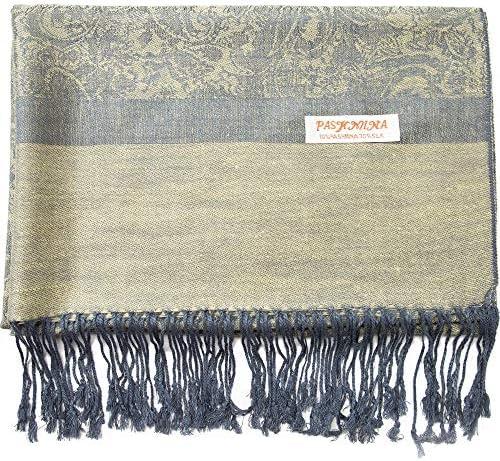 Paisley Pashmina Silk Scarf Shawl Jacquard Cashmere Wrap Stole Two Tones Reversible 147 Raffia product image
