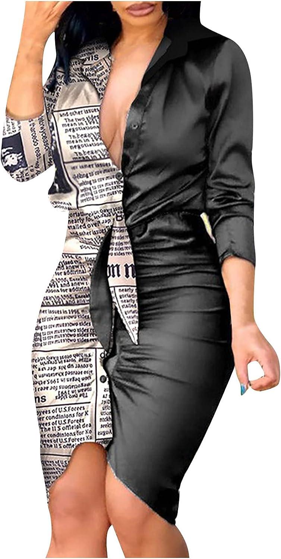 Women Summer Lapel Long Sleeve Fromal Dress Retro Print Bandage Bodycon Shirt Dress Casual Runched Midi Slim Dress