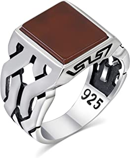 خاتم فضة رجالي بحجر عقيق أحمر في خاتم 925 من مجوهرات تركية مصنوعة يدويًا من مجوهرات للرجال من تشيمودا