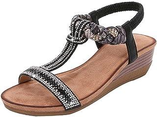 SHOULIEER Sandales d'été pour Femmes avec Talons Hauts Talons compensés Chaussures en Argent Femme Boheme sans Plate-Forme...