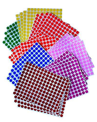 "Royal Green Kids Colored Round Dots 3/8 "" inch 8 Colors - 32 Sheets - 10mm - Arts, Crafts, Fun and Games Stickers - 4832 Pack"