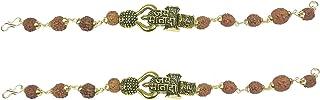 Utkarsh (Set Of 2 Pcs) Stylish Adjustable Brown Beads Jai Mata Di Rudraksha Mala Chain Om Mahadev Bolenath Mahakaal Lord S...