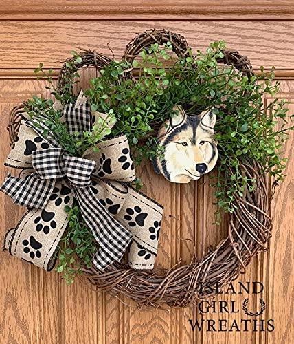 Wolf Gifts Dog Decor Wreath Gra Paw Limited price sale