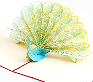 Creative 3D Greeting Card Children Handmade Custom Peacock Green