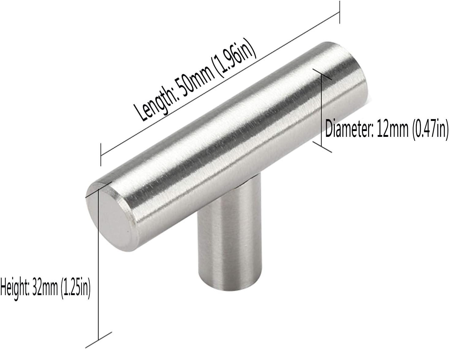Maniglie per armadietti da cucina maniglie per cassetti maniglie per porte per armadi maniglie a T maniglie da cucina per cassetti da cucina distanza di corso: 64 mm in acciaio inox