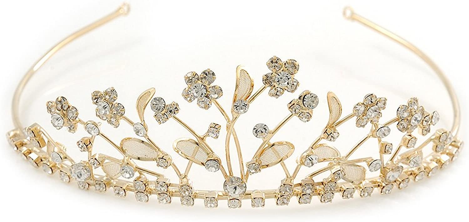 Delicate Bridal Wedding  Prom gold Plated Austrian Crystal Floral Tiara