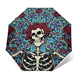 Grate-Ful Dead Steal Your Face Windproof Automatic Retractable Folding Lightweight Umbrella Travel Umbrella
