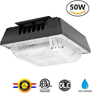 Cinoton 50W LED Canopy Light, (250-400W HPS/HID Replacement), 5000K (Crystal White Glow), 5500 Lumens, Waterproof and Outdoor Rated for Playground, Gym, Warehouse, Garage,Backyard