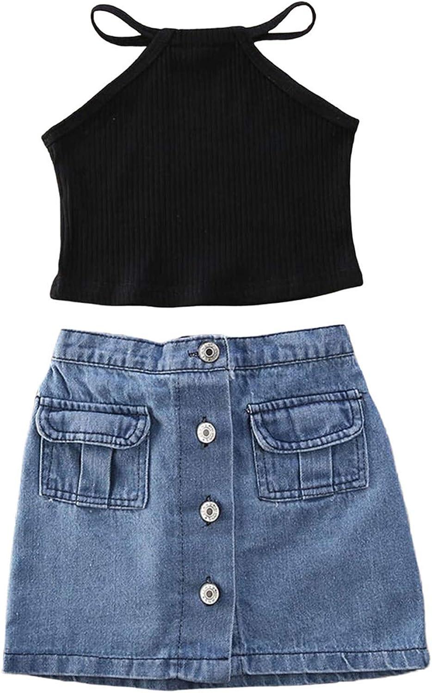 VISGOGO Toddler Baby Girls Outfits Clothes Set Halter Crop Tops + Flamingo Short Pants