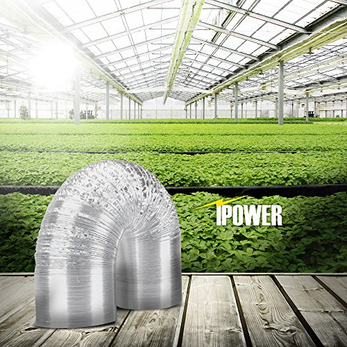 iPower 6 Inch 25 Feet Non-Insulated Flex Air Aluminum Ducting Dryer Vent Hose for HVAC Ventilation, 2 Clamps included