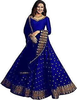 فستان ليهينغا تشولي شبه مخيط من الساتان الأزرق للنساء
