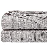 NTBAY 100% Cotton Cable Knit Throw Blanket Super Soft Warm Multi Color (51 x 67 inches, Silver Grey)