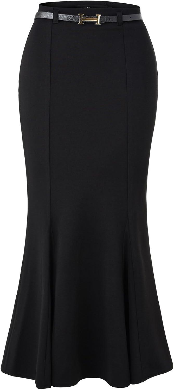 Yaling International Trading Limited YITL Women's Elegant High Waist Fishtail Mermaid Bodycon Pencil Long Skirt with Belt