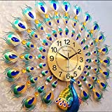 WJBH時計壁時計リビングルーム人格クリエイティブファッション孔雀ぶら下げテーブル現代のミニマリスト雰囲気時計ホームクォーツ時計ラウンド60センチ* 60センチ時計プレート21センチ