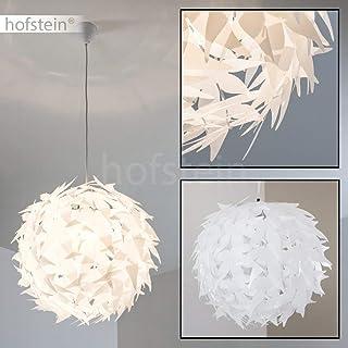 Dokkas Lámpara colgante en blanco de metal - diseño - lámpara de techo para salón muy llamativa - apta para LED - lámpara de dormitorio - redonda